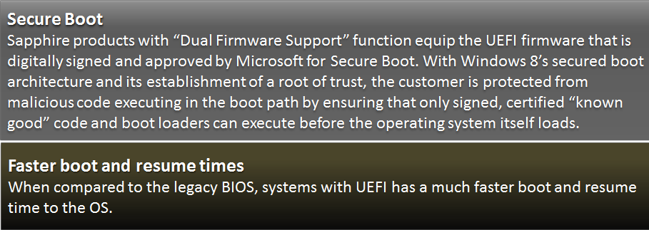 Dual Firmware Support This product supports both Legacy and UEFI