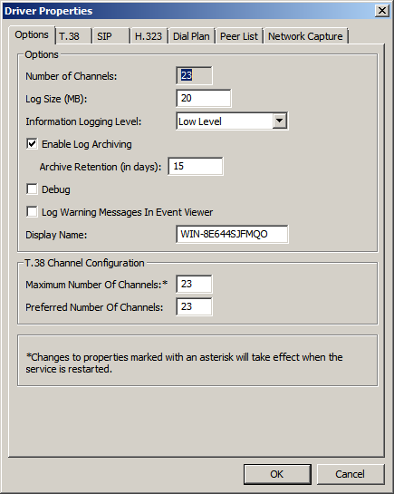 Step Description 4. General Options On the Driver Properties screen, select the Options tab.