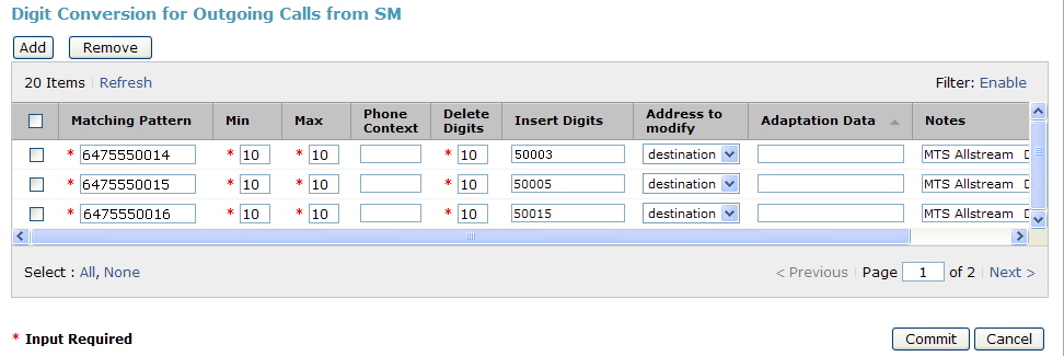 To map inbound DID numbers from EarthLink to Communication Manager extensions, scroll down to the Digit Conversion for Outgoing Calls from SM section. Create an entry for each DID to be mapped.