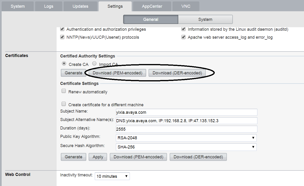 Import third party root CA: WebControl Manager->settings->Certificate->Import CA o Browse rootca or intermediate CA file.