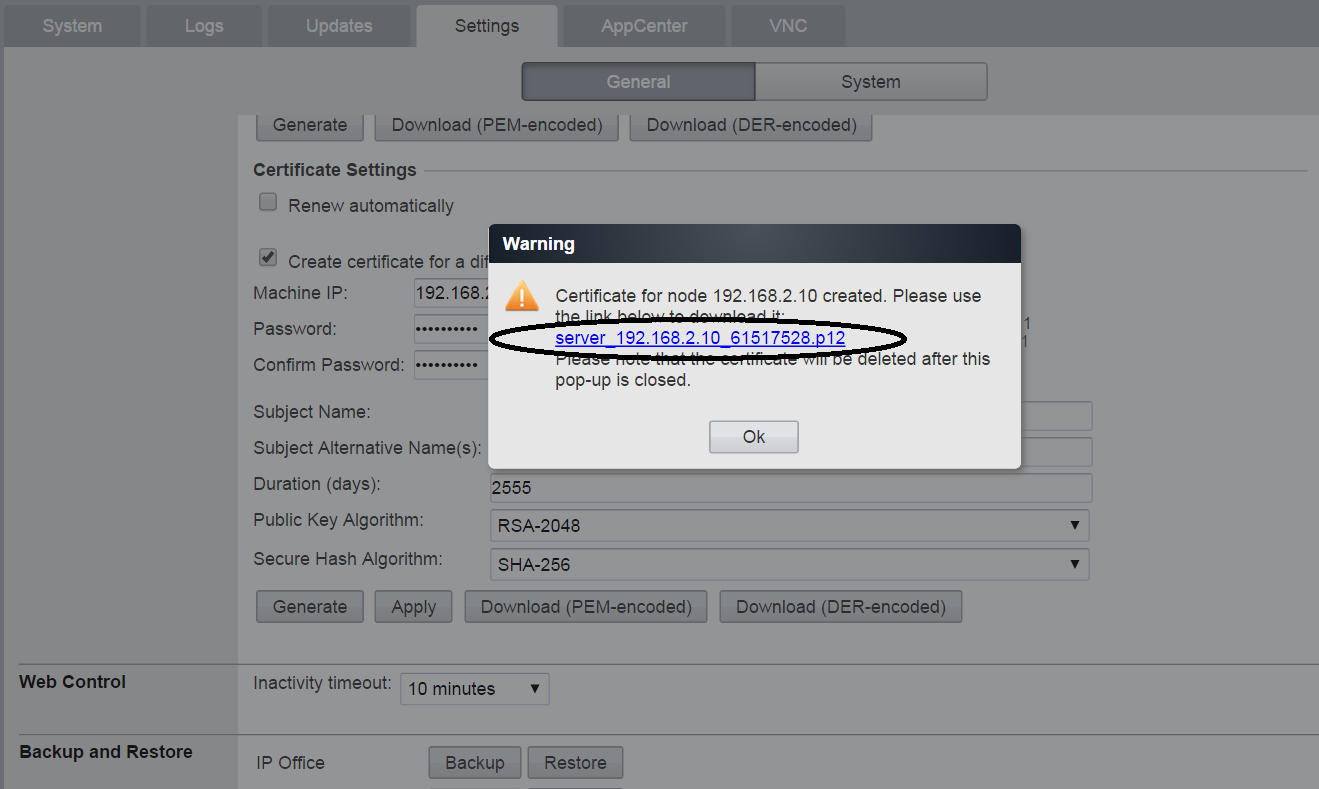 "o IP Office Manager Security Settings->System->Certificates Generate self-signed identity certificate: Upload customer IP Office's identity certificate using ""Set"" button."