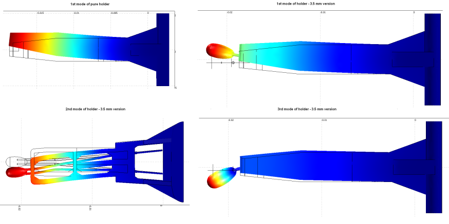 Figure 6: Vibration modes of C concept holder Measurement was done with the help of Technicka Univerzita of Ostrava.