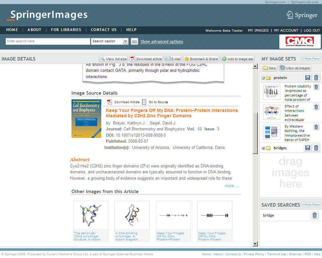 Image Details Page Find meta data from the original source (e.g. journal article), read the abstract and link directly to