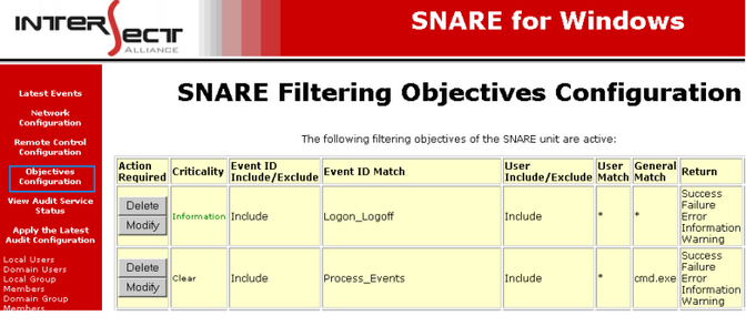 Figure 4 Snare Collector Configuration: IP address and Port configuration 2. The syslog Snare collector is automatically detected by the LogLogic appliance.
