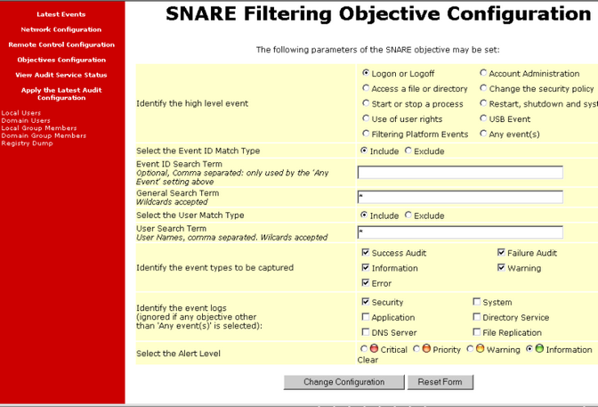 The filtering parameters available in the Snare collector are as shown below.
