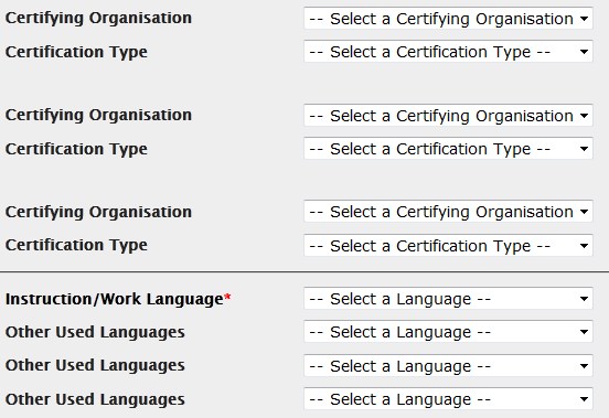 3. certification and language section In this section, which may differ according to the action and activity type, you can specify any certifications that the participant might have received or will