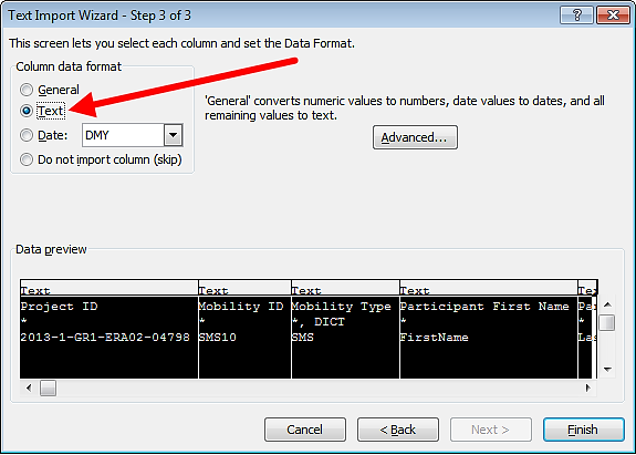 "(8) Select ""Text"" option in the column data format pane, as presented on the screenshot below."