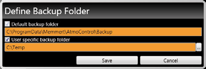7.4 Backup folder You can set up a backup folder in which AtmoCONTROL saves backup copies of programmes and user data.