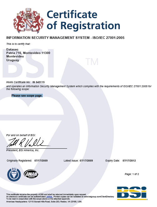 ISO-27001 certificering desktop review of the existence and completeness of key documentation such as the organization's security policy, Statement of Applicability (SoA) and