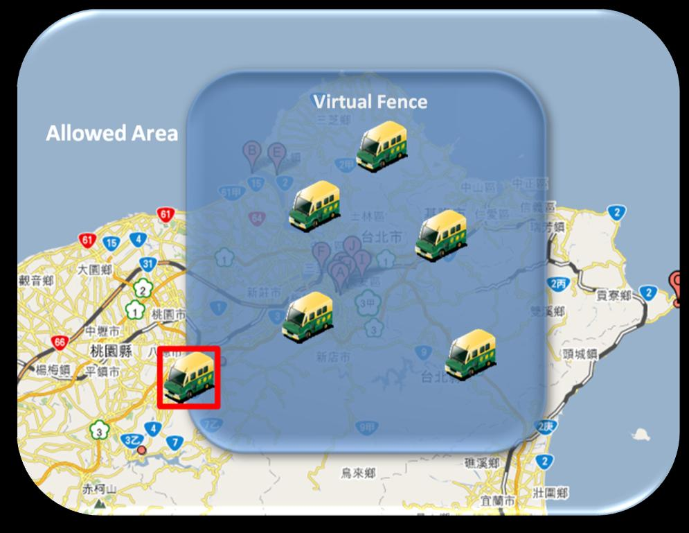 Control Center Live View Guard Vehicle Tracing (via Google Map) Alert Pop up by Event Application#3 Virtual Fence /Route Monitor Alert By using monitoring vehicle position via