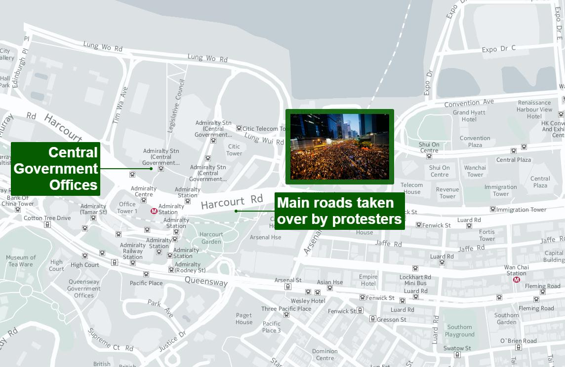 Protests in Hong Kong Hong Kong: locations of protests 2014 (Protest events)