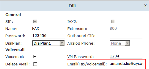 3. Settings of Extension s Email Fill in the Email on the page of Extensions. This Email is used to receive fax and voicemail for extension user. 4.