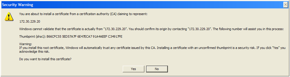 Chapter 7 Frequently Asked Questions (FAQ) Click the OK button letting you know the import was successful. You may receive a Security Warning dialog box. Click the Yes button.