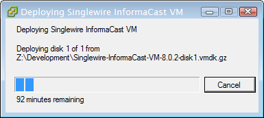 Chapter 2 Installing InformaCast Step 8 Click the Next button. The Deploy OVF Template dialog box refreshes.