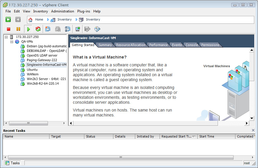 Chapter 2 Installing InformaCast Step 11 Click the Inventory icon ( ) on the vsphere Client window. The vsphere Client window refreshes.