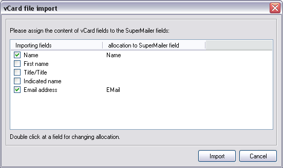 Import recipient via drag'n drop SuperMailer has various options to import recipients via drag'n drop. import VCF files (virtual business card) If you drag a.