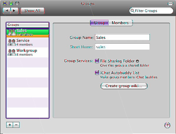 Managing Groups 8 Use the Groups pane to add or delete groups, see and change group membership, or configure group services.