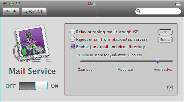 Managing Mail Service Use the Mail pane to turn mail service on or off, specify a relay server for outgoing mail, or adjust junk mail and virus filtering.