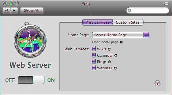 Managing Web Services Use the Web pane of Server Preferences to turn the Web Server on or off, change the location of your server s web homepage, publish custom websites, or turn standard web