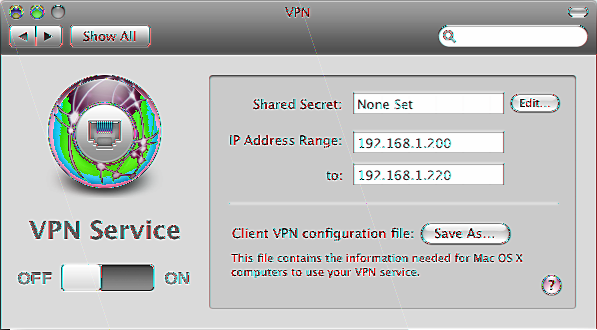 Managing VPN Service Use the VPN pane to turn VPN remote access service on or off, inspect or change the VPN secret, set the IP address range for VPN users, or save a VPN configuration file for Mac