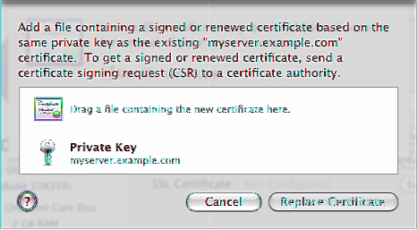 When you receive your SSL certificate from the certificate authority, you can use it to replace your self-signed certificate. For instructions, see Replacing a Self-Signed Certificate, next.