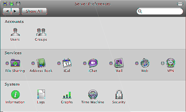 Using Server Preferences With Server Preferences, you can check the status of services and change essential settings.