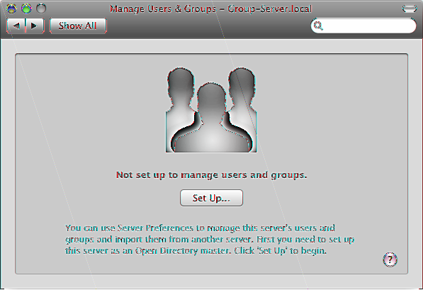 Setting Up Users and Groups Management If your server wasn t initially set up to manage its own users and groups, you see a Set Up button when you view the Users pane or the Groups pane in Server