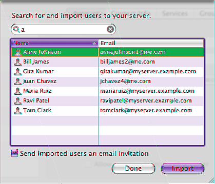 Importing Users If your server is connected to your organization s directory server, you can import users existing accounts Your server gives each imported user account its own ichat address,