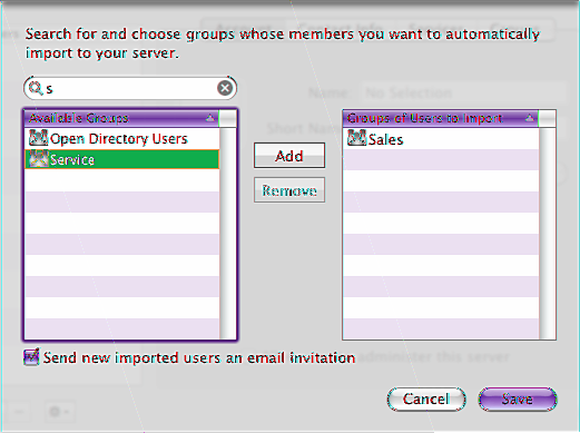 Importing Groups of Users Automatically If your server is connected to your organization s directory server, you can import groups of existing user accounts.