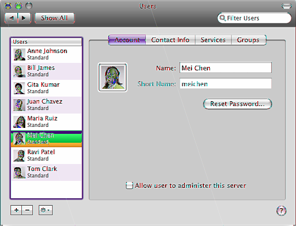 Changing a User s Account Settings You can change a user s name, password, picture, or administrator privilege by clicking Account in the Users pane of Server Preferences.