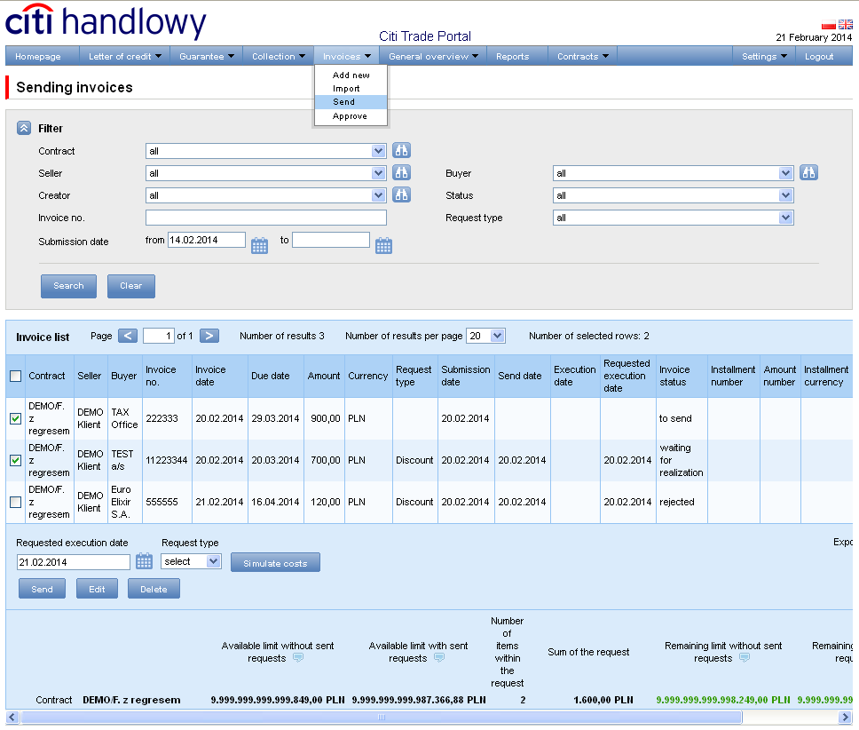 Sending The Sending invoices screen consists of four parts: a filter section, main table with invoices, functional elements and summary information at the bottom.