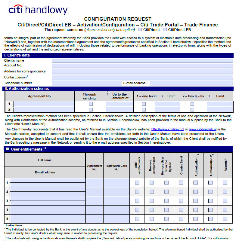 The authorization scheme specified in the section II of the CitiDirect/CitiDirect EB Activation/Configuration Citi Trade Portal determines the form of representation for the Client indicated in