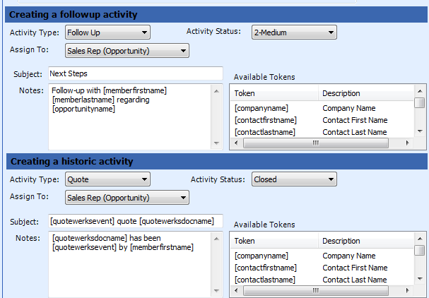 Create a followup activity Create a historic activity To be completed if Create Activity option is selected.