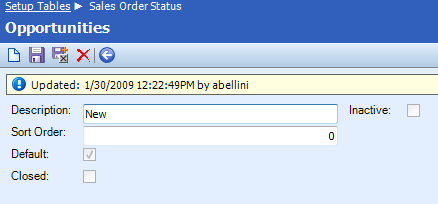 Table Name: Sales Order Status The Sales Order Status table is used to create and maintain the statuses that can be assigned to sales orders.