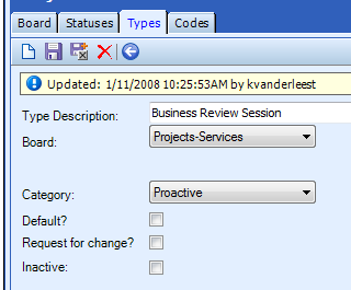 Types Tab The Types tab is used to establish types that can be automatically assigned by the project board to project tickets upon their creation.