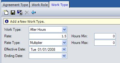 Work Type tab: The table on the following page defines the screen elements displayed on the Work Type tab.