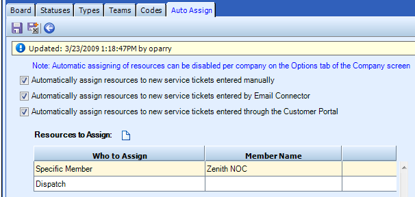 Auto Assign Tab The Auto Assign tab is used to automatically assign resources to service tickets upon creation.