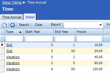 Detail tab The Detail tab is used to define accrual type s available hours based on years of service.