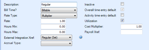 Table Name: Work Type The Work Type table is used to alter default values that are associated with time entry.