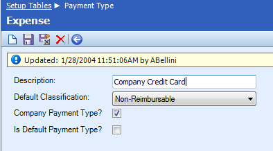 Table Name: Payment Type The Payment Type table defines the acceptable forms of payment for expenses.