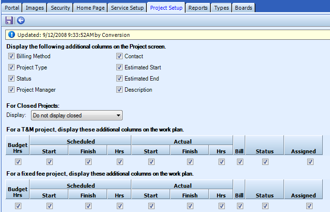 Project Setup tab: The following table defines the screen elements that display on the Project Setup tab: Display the following additional columns on the Service List For Closed Projects A marked