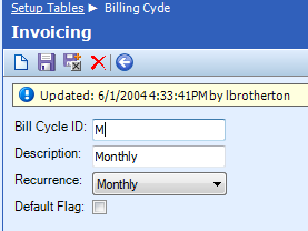 Category: Invoicing Table Name: Billing Cycle The Billing Cycle table is used to assign Agreement billing cycles to accounts.
