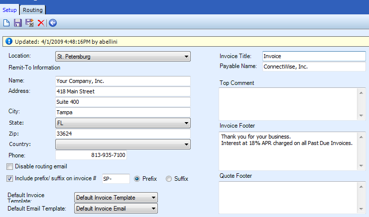 Table Name: Billing Setup The Billing Setup table establishes the defaults that are used when setting up a customer s billing information.
