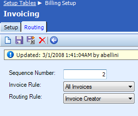 Routing Tab Routing establishes the workflow by which invoices are processed. Invoice information is emailed to members in the order specified in the Routing screen.