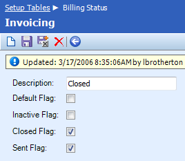 Table Name: Billing Status The Billing Status table establishes the process status of invoices. Upon creating an invoice, ConnectWise will assign the designated status as the default.