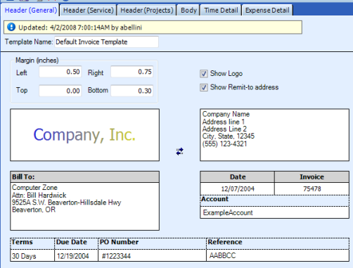 Table Name: Invoice Templates ConnectWise gives users the option of using a default invoice template or creating custom invoice templates using the Invoice Format table.