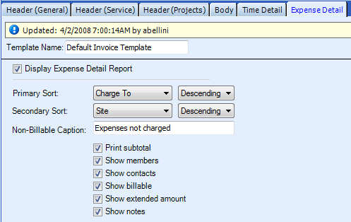 Non-Billable Caption Listed Options Date/Time Site Charge To The data can be sorted in ascending or descending order as designated in the adjacent drop-down box. for No Charge records on the invoice.