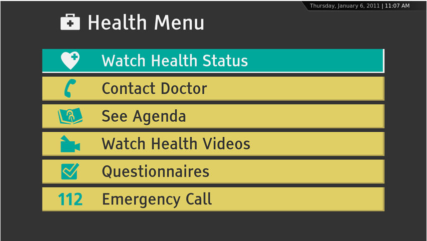 patient data (health status, agenda, reminders, etc.