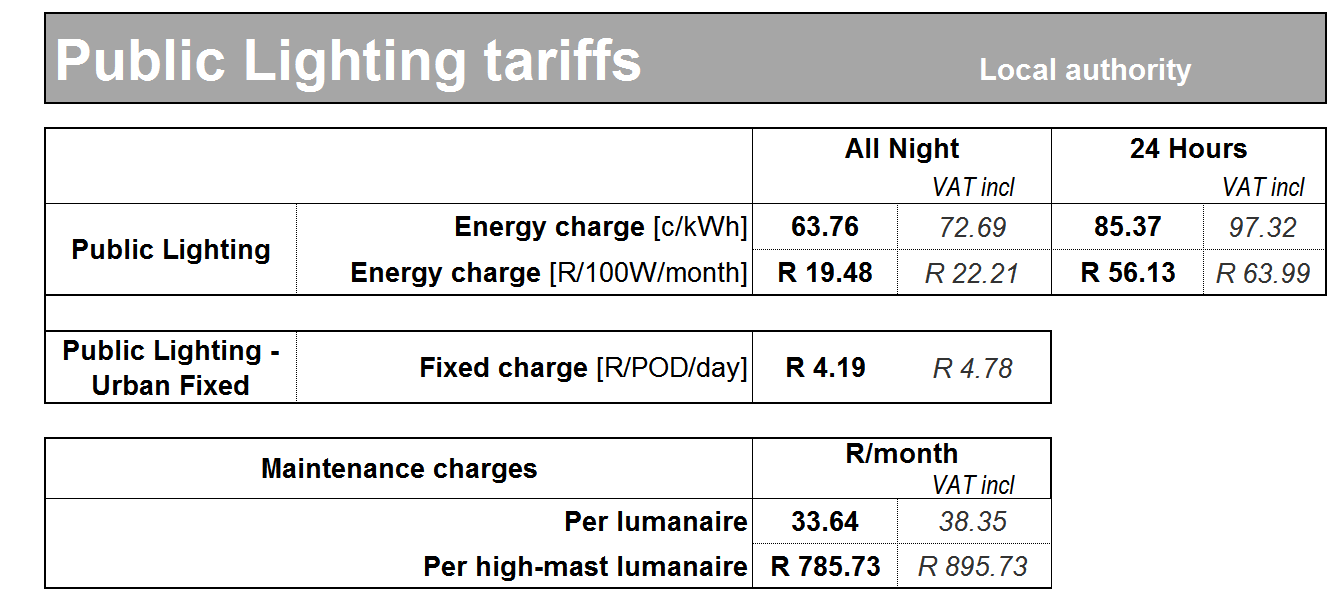 26. Public lighting non-local authority tariff Electricity tariff for public lighting or similar supplies in Urban p areas where Eskom provides a supply for, and if applicable maintains, any street