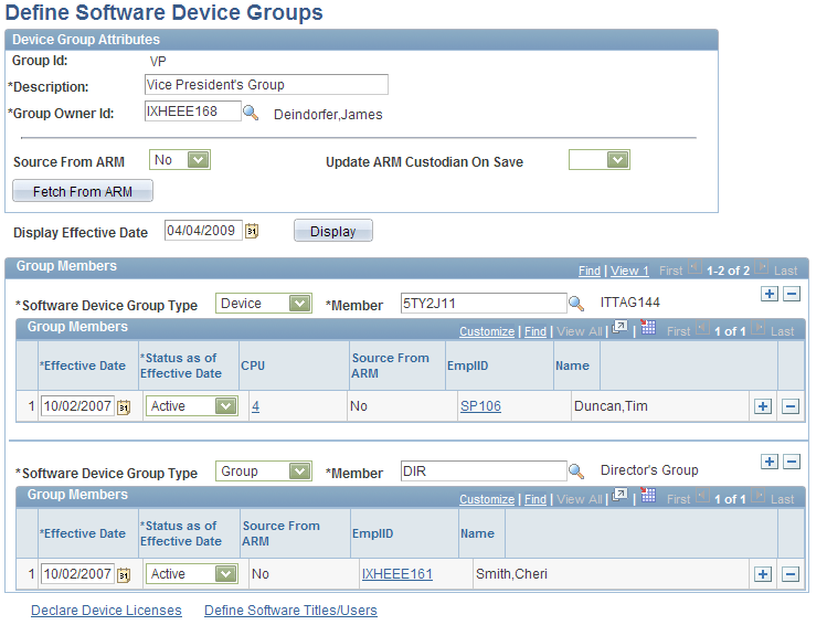 Setting Up PeopleSoft IT Asset Management Resource Settings Chapter 5 Define Software Device Groups page 44 Group Id Assign a software device Group Id.